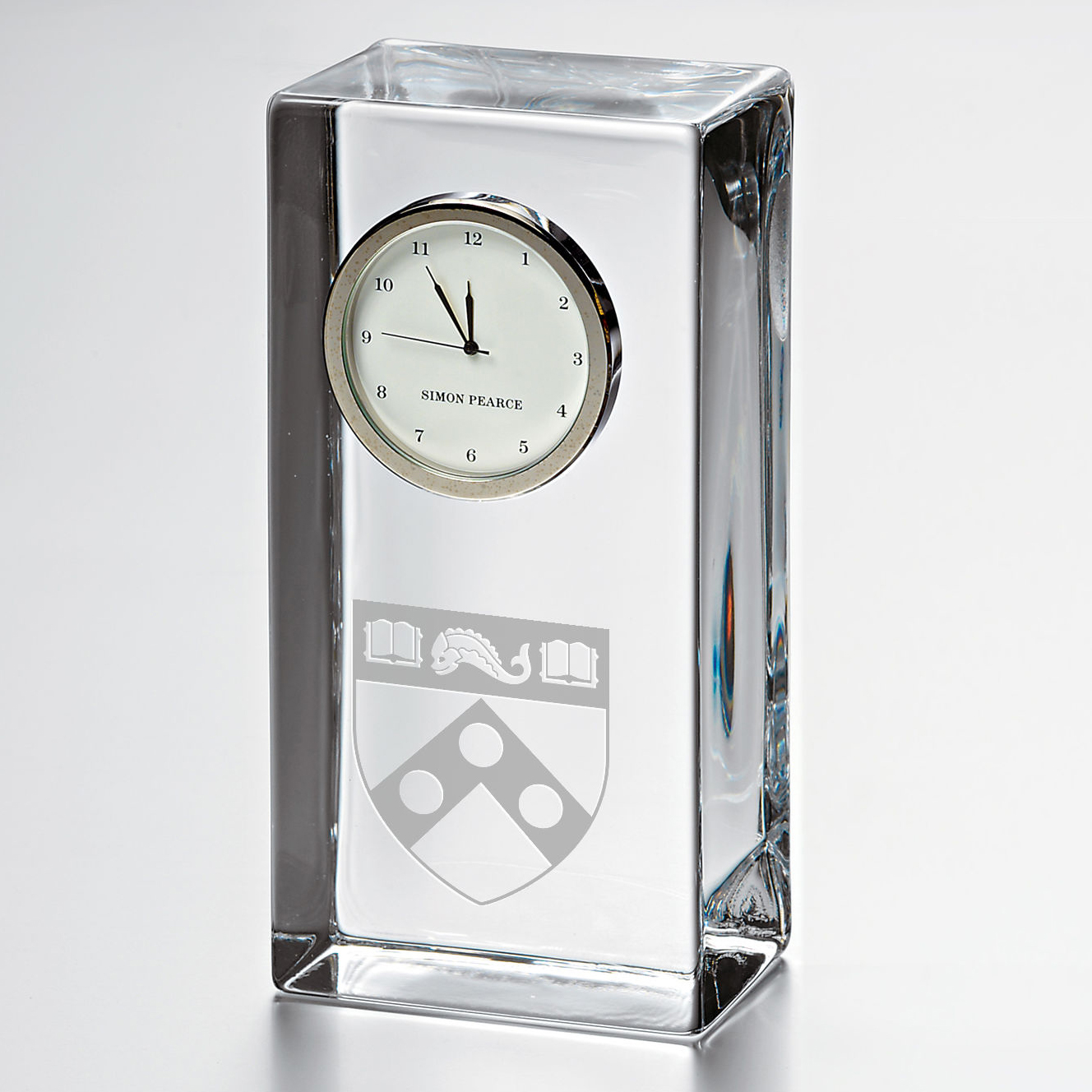Penn Tall Glass Desk Clock by Simon Pearce