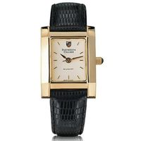 Dartmouth Women's Gold Quad Watch with Leather Strap