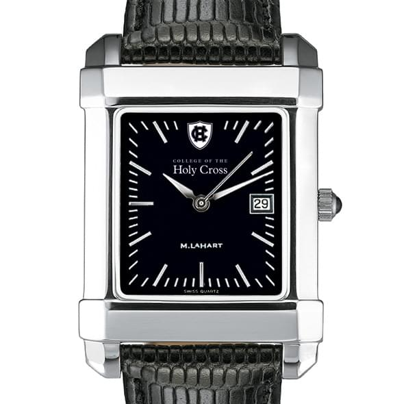 Holy Cross Men's Black Quad Watch with Leather Strap