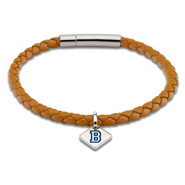 Bucknell Leather Bracelet with Sterling Silver Tag - Saddle