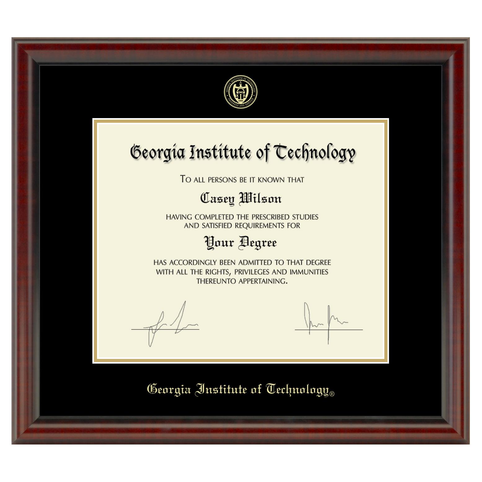 Georgia Tech Fidelitas Diploma Frame