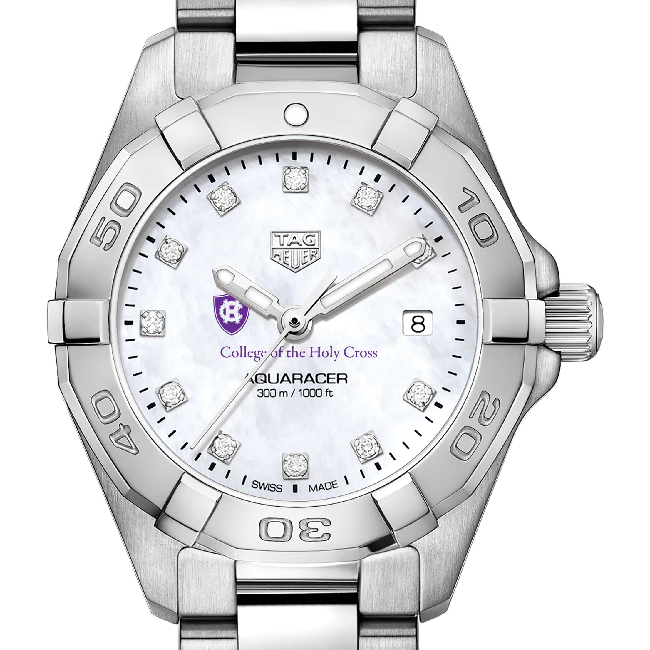 Holy Cross Women's TAG Heuer Steel Aquaracer with MOP Diamond Dial