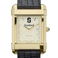 Stanford Men's Gold Quad Watch with Leather Strap