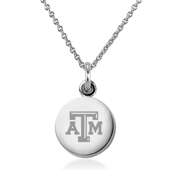 Texas A&M Sterling Silver Necklace with Silver Charm