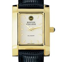 Boston College Women's Gold Quad Watch with Leather Strap