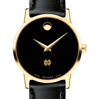 Notre Dame Women's Movado Gold Museum Classic Leather