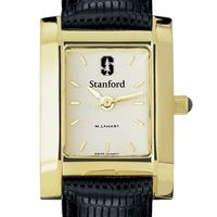 Stanford Women's Gold Quad Watch with Leather Strap
