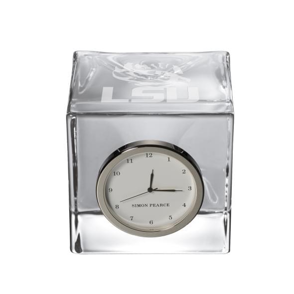 LSU Glass Desk Clock by Simon Pearce