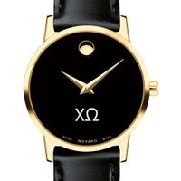 Chi Omega Women's Movado Gold Museum Classic Leather Image-1 Thumbnail