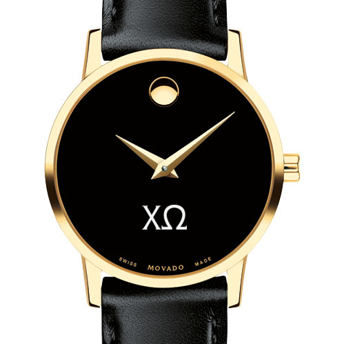 Chi Omega Women's Movado Gold Museum Classic Leather