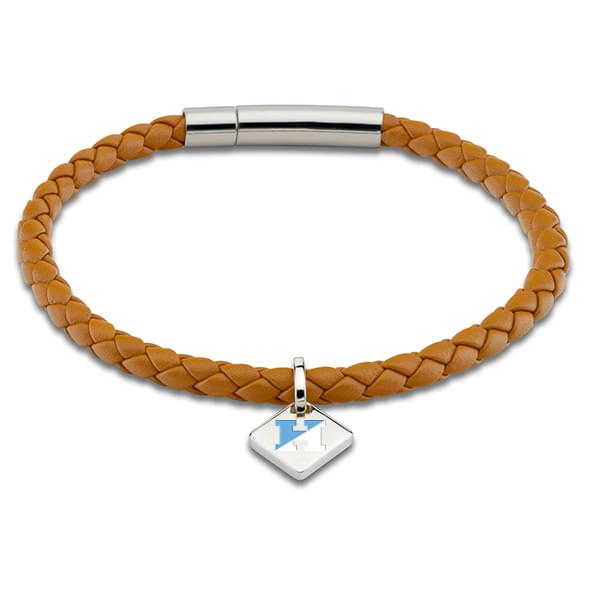 JHU Leather Bracelet with Sterling Silver Tag - Saddle