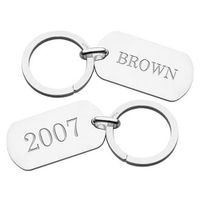 Brown Sterling Silver Dog Tag Key Ring