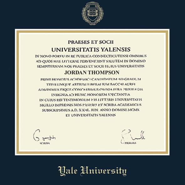 Yale Fidelitas Diploma Frame