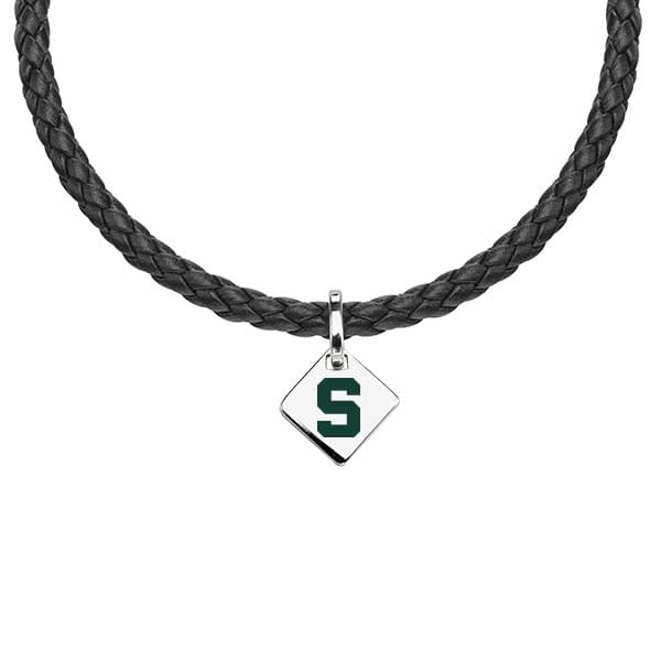 Michigan State Leather Necklace with Sterling Silver Tag