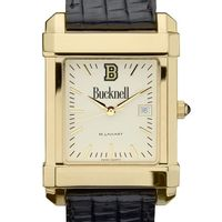 Bucknell Men's Gold Quad with Leather Strap