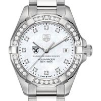 Harvard Business School Women's TAG Heuer Steel Aquaracer with MOP Diamond Dial & Diamond Bezel