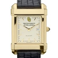 Oklahoma Men's Gold Quad Watch with Leather Strap