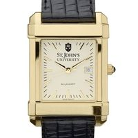 St. John's Men's Gold Quad with Leather Strap