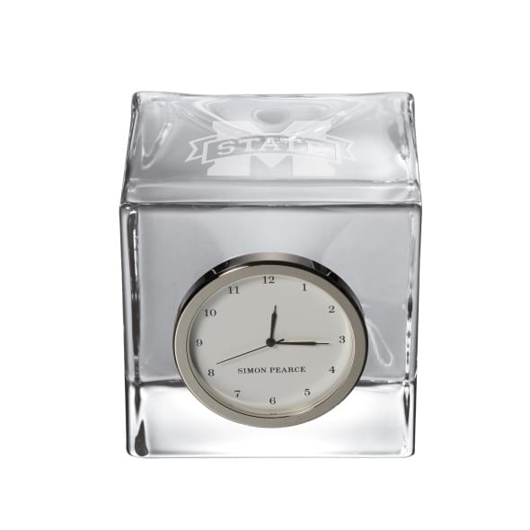 Mississippi State Glass Desk Clock by Simon Pearce