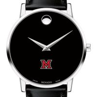 Miami University Men's Movado Museum with Leather Strap