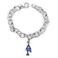 Delta Gamma Sterling Silver Charm Bracelet w/ Letter Charm Image-1 Thumbnail