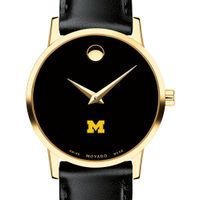 Michigan Women's Movado Gold Museum Classic Leather