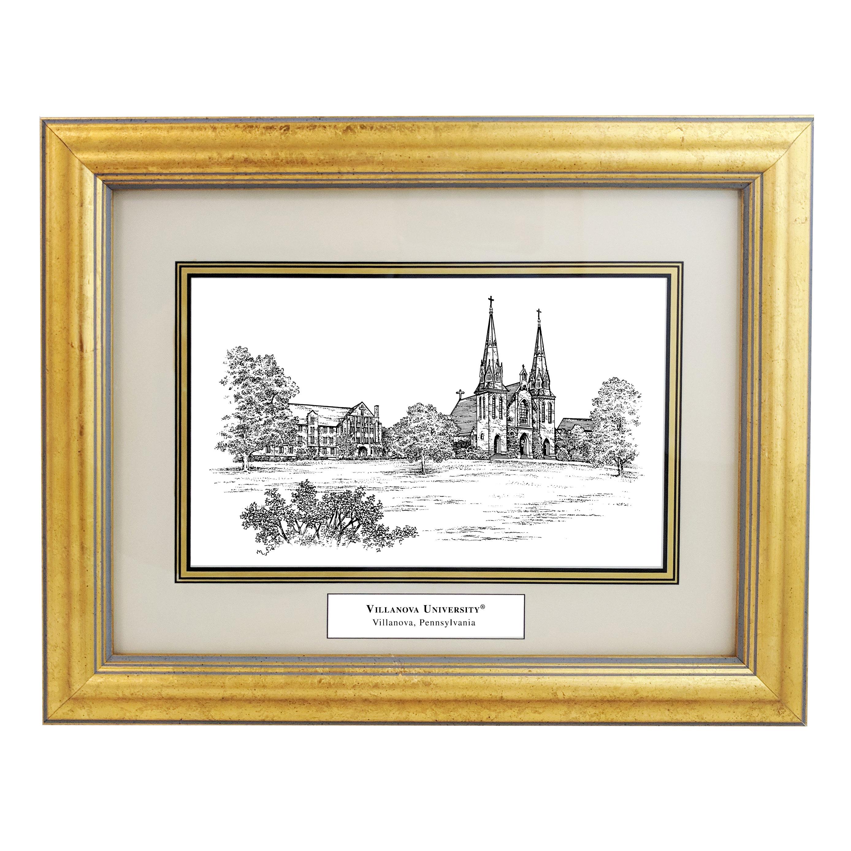 Framed Pen and Ink Villanova University Print