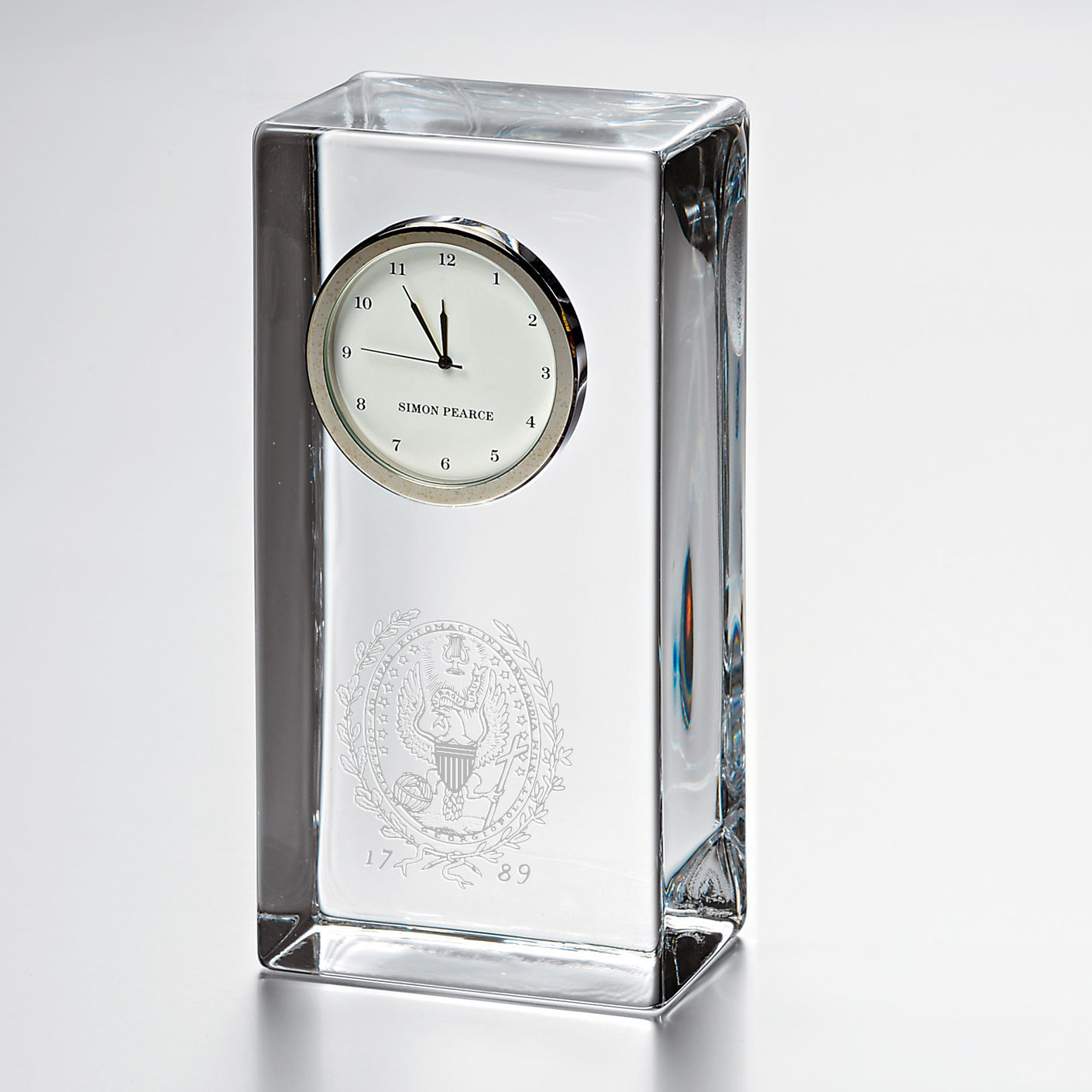 Georgetown Tall Glass Desk Clock by Simon Pearce