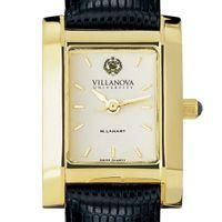 Villanova Women's Gold Quad Watch with Leather Strap