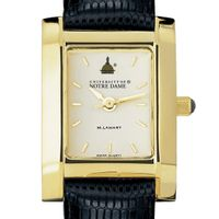 Notre Dame Women's Gold Quad Watch with Leather Strap