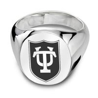 Tulane University Sterling Silver Oval Signet Ring