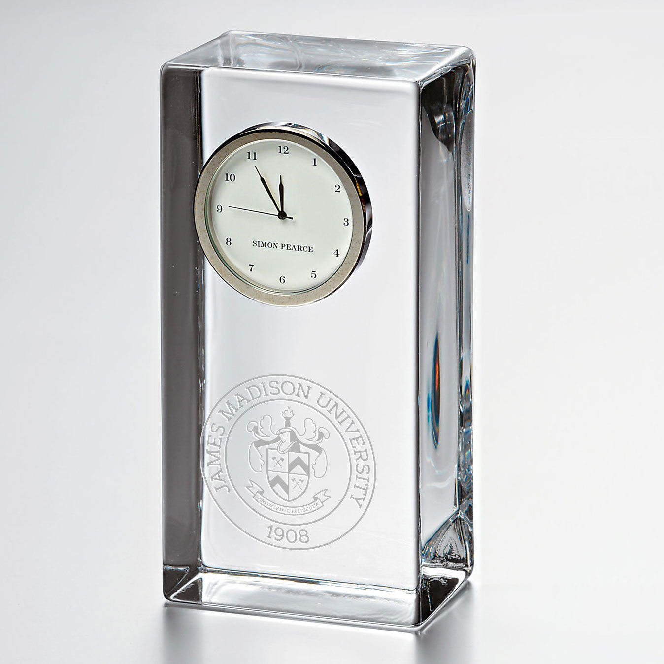 James Madison Tall Glass Desk Clock by Simon Pearce