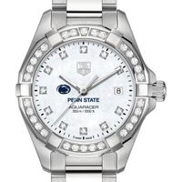 Penn State Women's TAG Heuer Steel Aquaracer with MOP Diamond Dial & Diamond Bezel