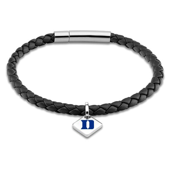 Duke Leather Bracelet with Sterling Silver Tag - Black