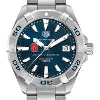 NC State Men's TAG Heuer Steel Aquaracer with Blue Dial