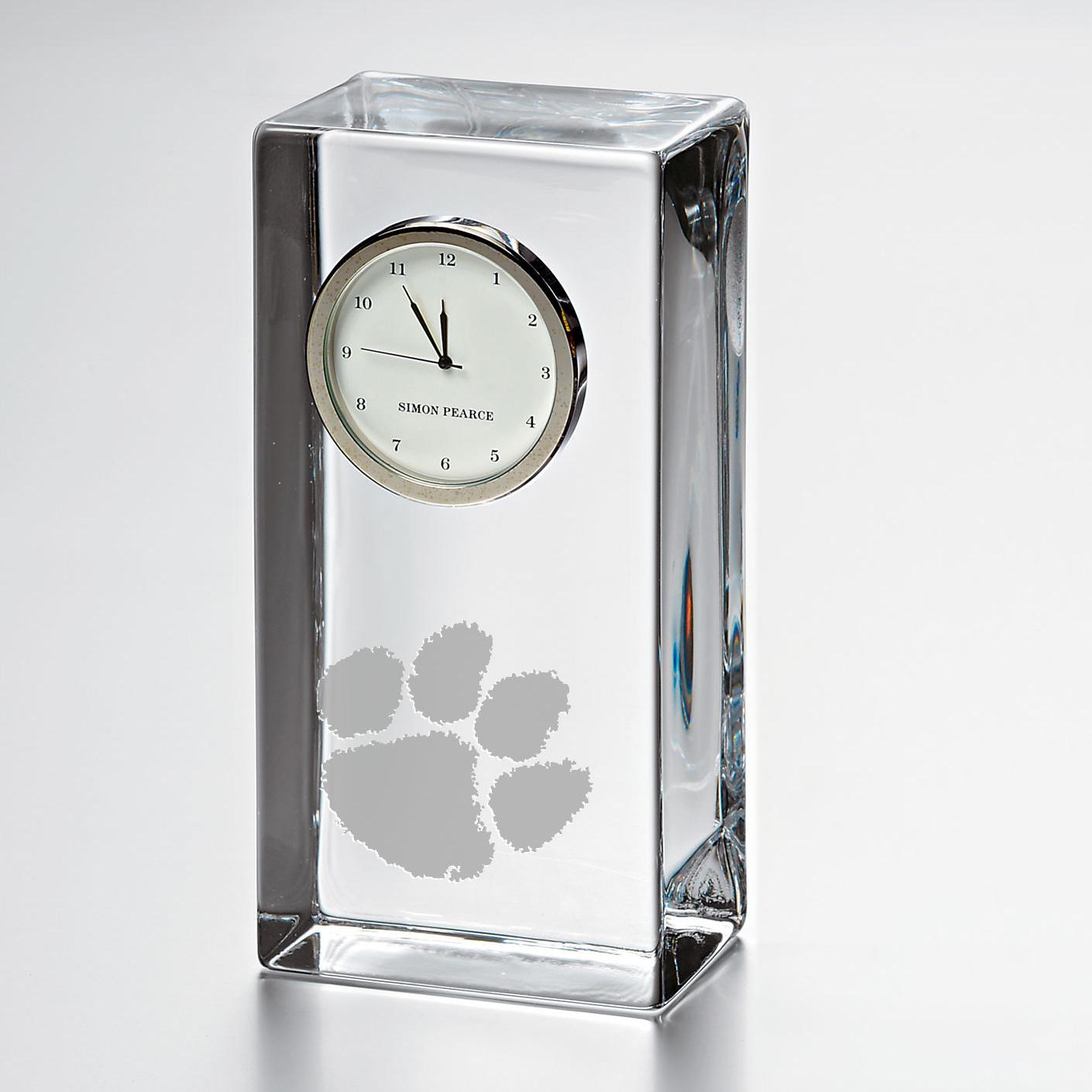 Clemson Tall Glass Desk Clock  by Simon Pearce