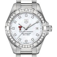 Texas Tech Women's TAG Heuer Steel Aquaracer with MOP Diamond Dial & Diamond Bezel