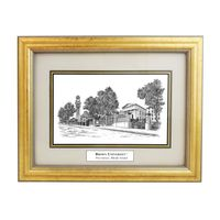 Framed Pen and Ink Brown University Print