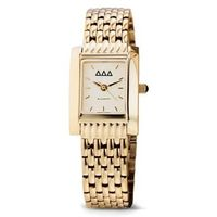 Delta Delta Delta Women's Gold Quad Watch with Bracelet