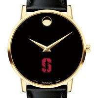 Stanford University Men's Movado Gold Museum Classic Leather