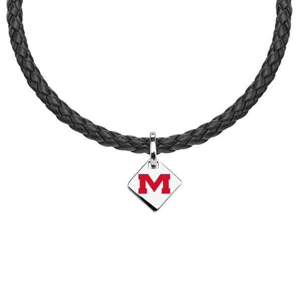 Ole Miss Leather Necklace with Sterling Silver Tag
