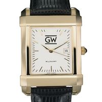 George Washington Men's Gold Quad with Leather Strap