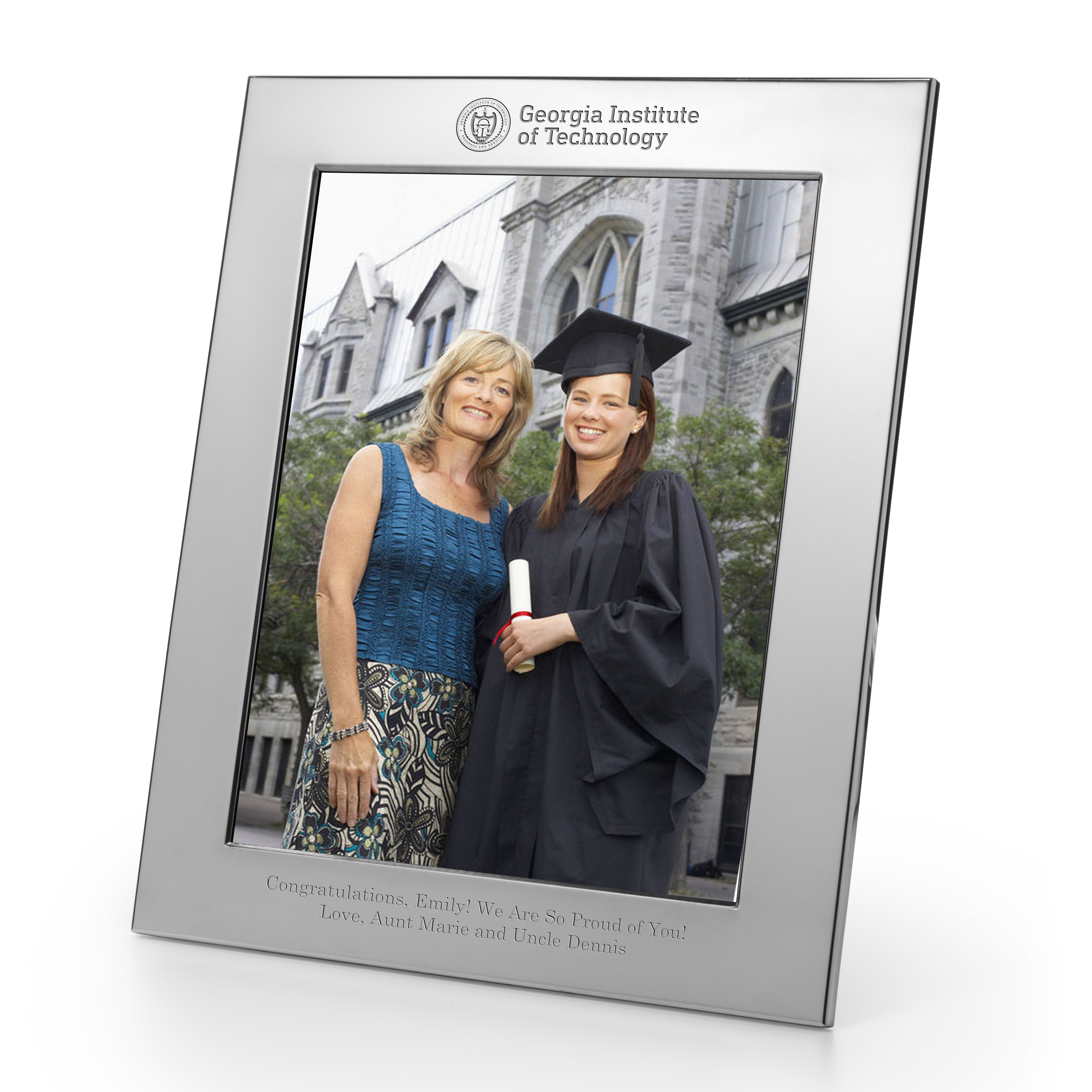 Georgia Tech Polished Pewter 8x10 Picture Frame Image-1