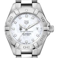 Brown Women's TAG Heuer Steel Aquaracer with MOP Diamond Dial
