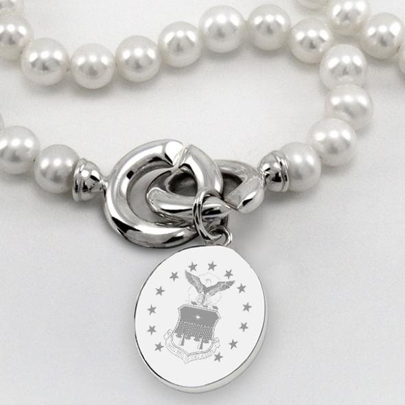 Air Force Academy Pearl Necklace with Sterling Silver Charm