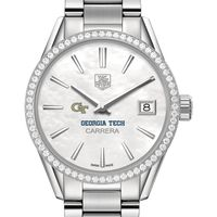 Georgia Tech Women's TAG Heuer Steel Carrera with MOP Dial & Diamond Bezel