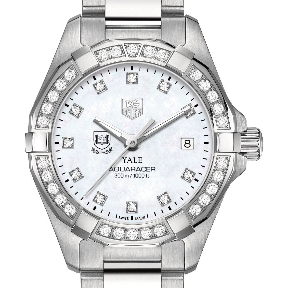 Yale Women's TAG Heuer Steel Aquaracer with MOP Diamond Dial & Diamond Bezel