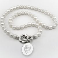 Harvard Pearl Necklace with Sterling Silver Charm