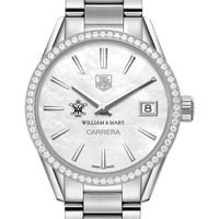 William & Mary Women's TAG Heuer Steel Carrera with MOP Dial & Diamond Bezel