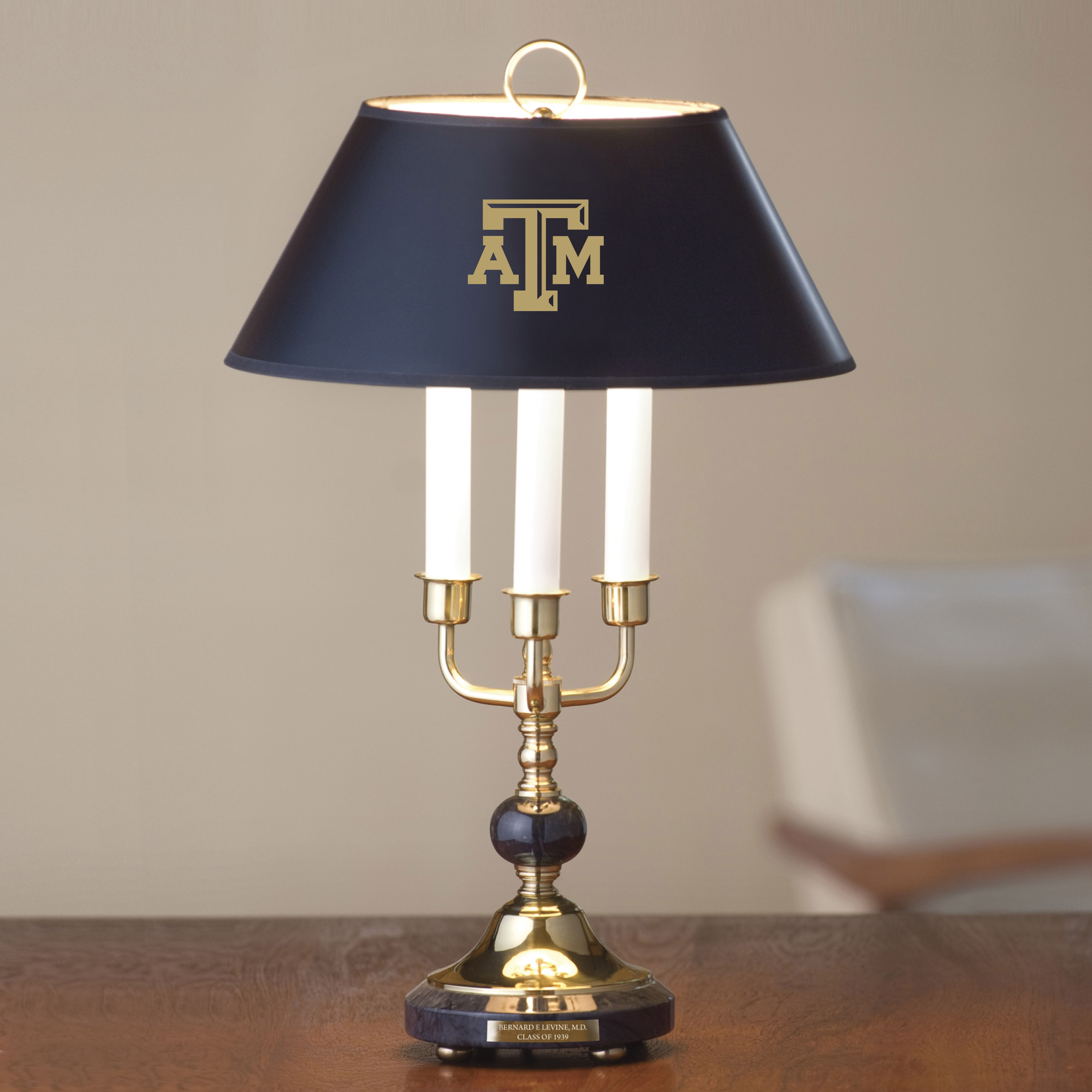 Traditional Texas A&M Lamp in Brass and Marble